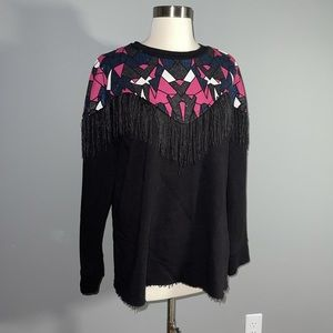 Zara sweatshirt w shingles/abstract glitter design